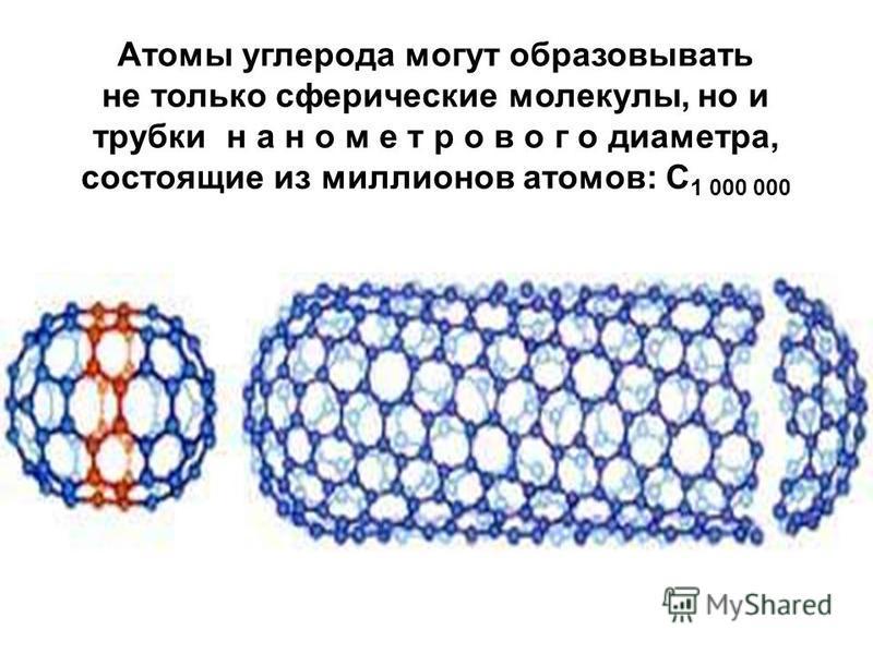 Атомы углерода могут образовывать не только сферические молекулы, но и трубки н а н о м е т р о в о г о диаметра, состоящие из миллионов атомов: C 1 000 000