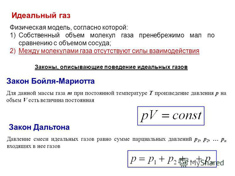 Идеальный газ Физическая модель, согласно которой: 1)Собственный объем молекул газа пренебрежимо мал по сравнению с объемом сосуда; 2)Между молекулами газа отсутствуют силы взаимодействия Законы, описывающие поведение идеальных газов Закон Бойля-Мари