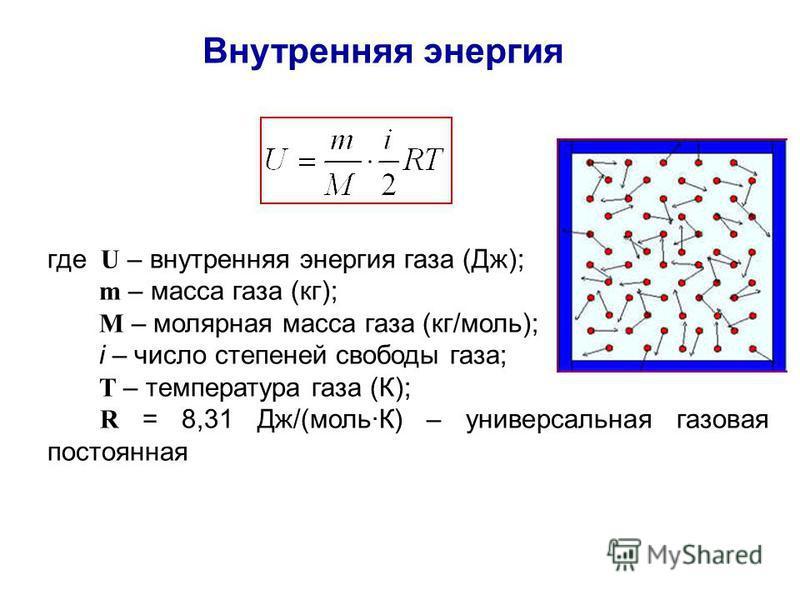 Внутренняя энергия где U – внутренняя энергия газа (Дж); m – масса газа (кг); М – молярная масса газа (кг/моль); i – число степеней свободы газа; Т – температура газа (К); R = 8,31 Дж/(моль·К) – универсальная газовая постоянная