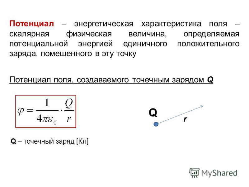 Потенциал – энергетическая характеристика поля – скалярная физическая величина, определяемая потенциальной энергией единичного положительного заряда, помещенного в эту точку Потенциал поля, создаваемого точечным зарядом Q Q r Q – точечный заряд [Кл]