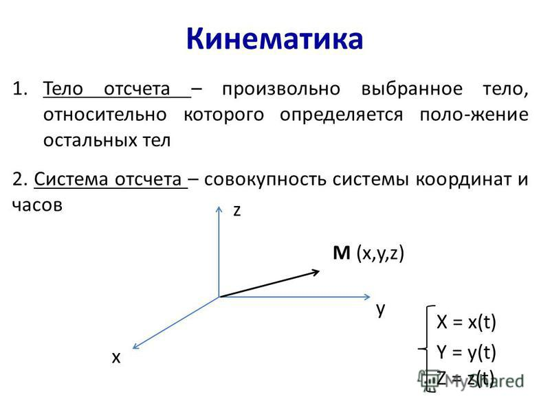 Кинематика 1. Тело отсчета – произвольно выбранное тело, относительно которого определяется поло-жение остальных тел 2. Система отсчета – совокупность системы координат и часов x z y M (x,y,z) X = x(t) Y = y(t) Z = z(t)