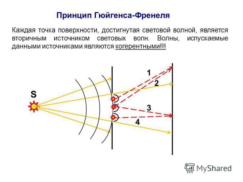 Принцип Гюйгенса-Френеля Каждая точка поверхности, достигнутая световой волной, является вторичным источником световых волн. Волны, испускаемые данными источниками являются когерентными!!! S 1 2 3 4