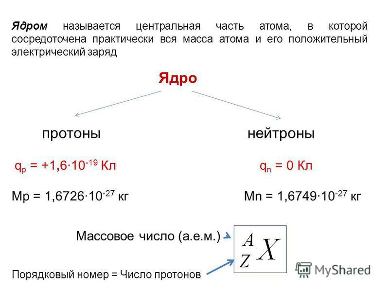 Ядром называется центральная часть атома, в которой сосредоточена практически вся масса атома и его положительный электрический заряд Ядро протонынейтроны q р = +1,6·10 -19 Клq n = 0 Кл Mp = 1,6726·10 -27 кгMn = 1,6749·10 -27 кг Порядковый номер = Чи