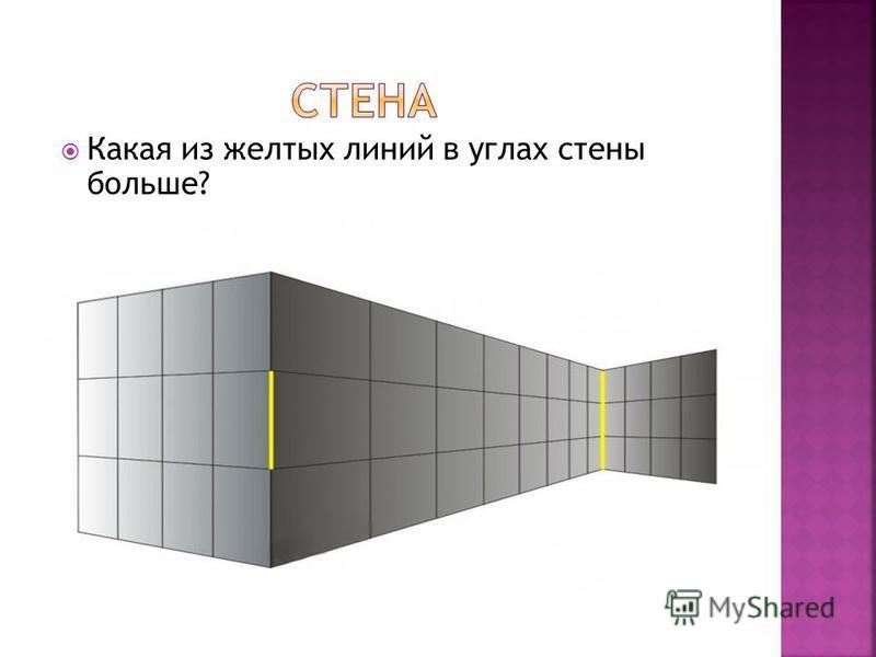 Какая из желтых линий в углах стены больше?
