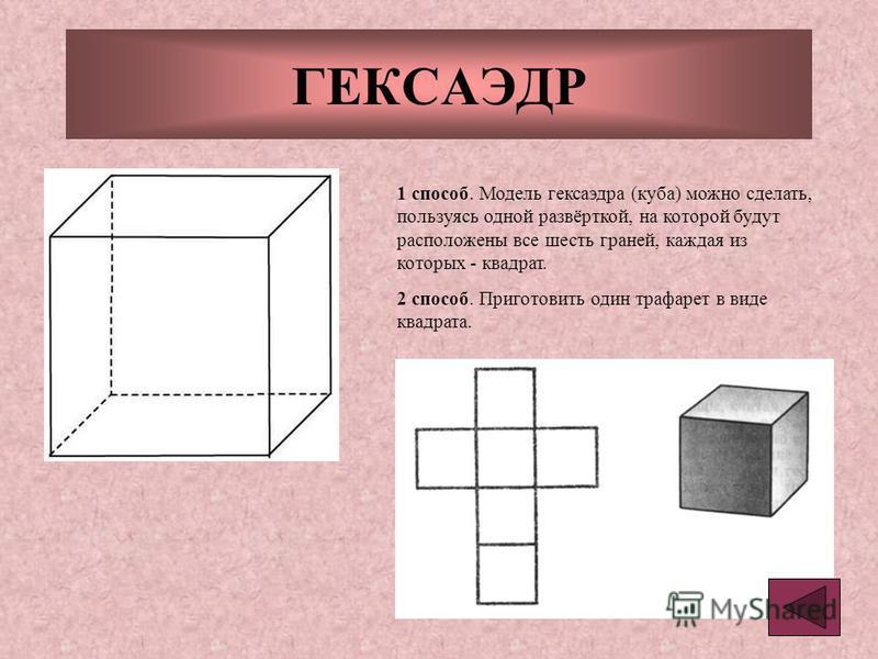 ГЕКСАЭДР 1 способ. Модель гексаэдра (куба) можно сделать, пользуясь одной развёрткой, на которой будут расположены все шесть граней, каждая из которых - квадрат. 2 способ. Приготовить один трафарет в виде квадрата.