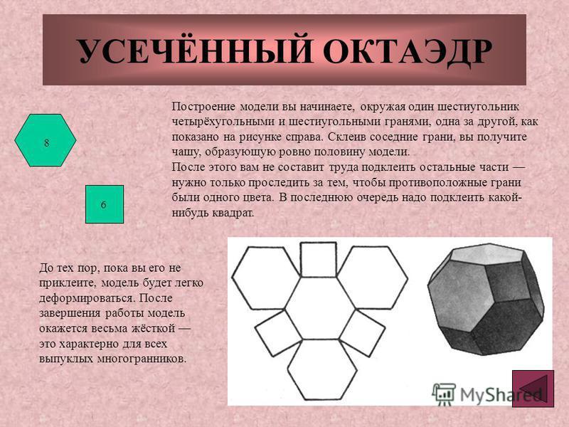 УСЕЧЁННЫЙ ОКТАЭДР Построение модели вы начинаете, окружая один шестиугольник четырёхугольными и шестиугольными гранями, одна за другой, как показано на рисунке справа. Склеив соседние грани, вы получите чашу, образующую ровно половину модели. После э