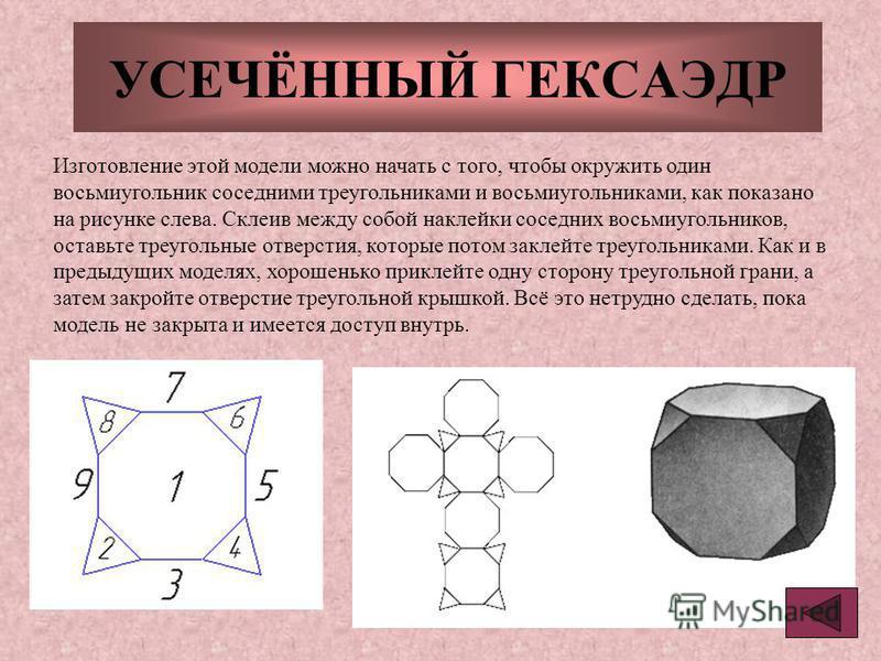 УСЕЧЁННЫЙ ГЕКСАЭДР Изготовление этой модели можно начать с того, чтобы окружить один восьмиугольник соседними треугольниками и восьмиугольниками, как показано на рисунке слева. Склеив между собой наклейки соседних восьмиугольников, оставьте треугольн