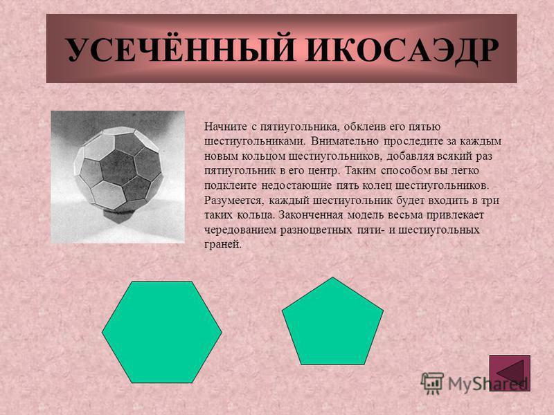 УСЕЧЁННЫЙ ИКОСАЭДР Начните с пятиугольника, обклеив его пятью шестиугольниками. Внимательно проследите за каждым новым кольцом шестиугольников, добавляя всякий раз пятиугольник в его центр. Таким способом вы легко подклеите недостающие пять колец шес
