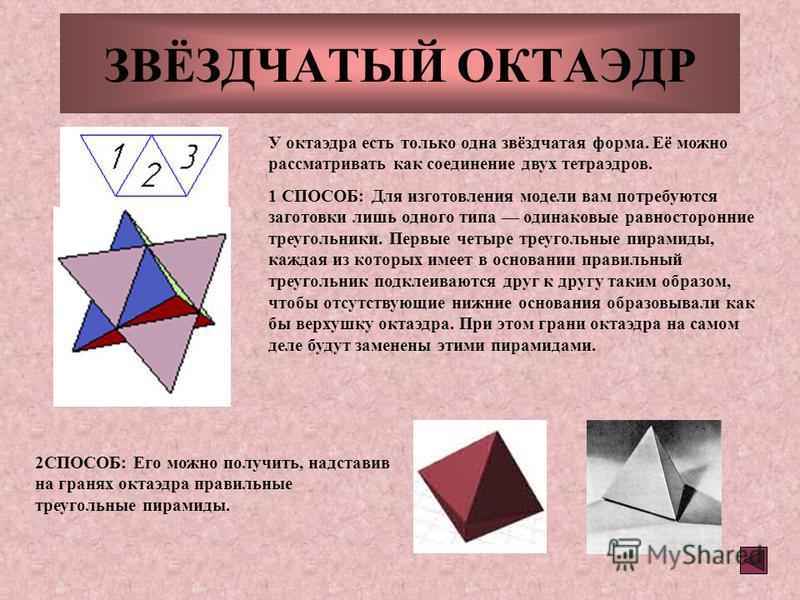 ЗВЁЗДЧАТЫЙ ОКТАЭДР У октаэдра есть только одна звёздчатая форма. Её можно рассматривать как соединение двух тетраэдров. 1 СПОСОБ: Для изготовления модели вам потребуются заготовки лишь одного типа одинаковые равносторонние треугольники. Первые четыре