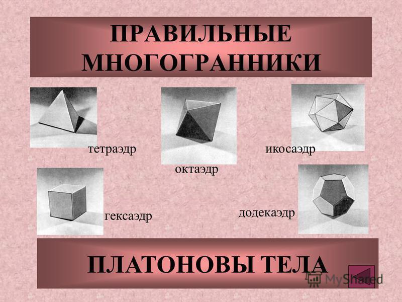 ПРАВИЛЬНЫЕ МНОГОГРАННИКИ ПЛАТОНОВЫ ТЕЛА тетраэдр октаэдр икосаэдр гексаэдр додекаэдр