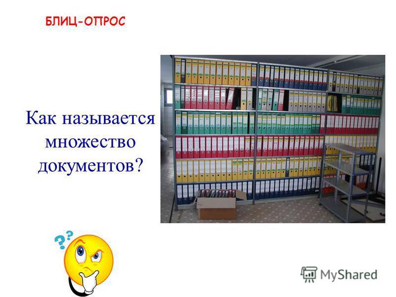 БЛИЦ-ОПРОС архив Как называется множество документов?