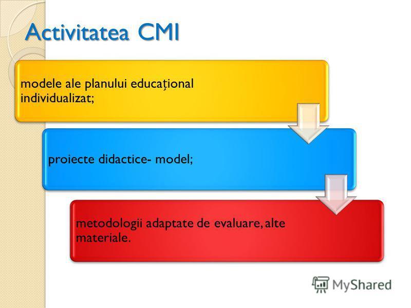 Activitatea CMI modele ale planului educaional individualizat; proiecte didactice- model; metodologii adaptate de evaluare, alte materiale.