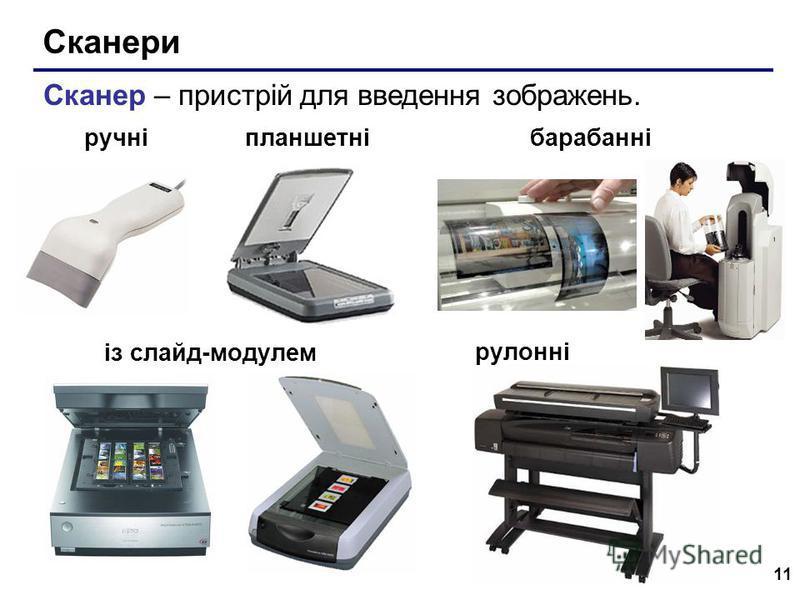 11 Сканери із слайд-модулем Сканер – пристрій для введення зображень. барабанніпланшетні рулонні ручні