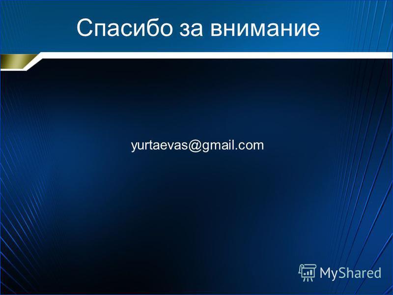 Спасибо за внимание yurtaevas@gmail.com