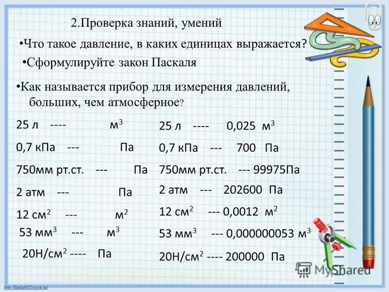 Что такое давление, в каких единицах выражается ? 2. Проверка знаний, умений Сформулируйте закон Паскаля Как называется прибор для измерения давлений, больших, чем атмосферное ? 25 л ---- м 3 0,7 к Па --- Па 750 мм рт.ст. --- Па 2 атм --- Па 12 см 2