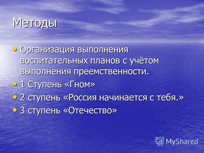 Методы Организация выполнения воспитательных планов с учётом выполнения преемственности. 1 Ступень «Гном» 2 ступень «Россия начинается с тебя.» 3 ступень «Отечество»