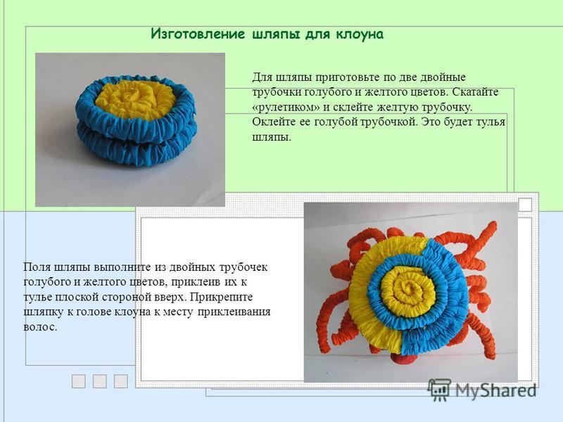 Изготовление шляпы для клоуна Для шляпы приготовьте по две двойные трубочки голубого и желтого цветов. Скатайте «рулеткиом» и склейте желтую трубочку. Оклейте ее голубой трубочкой. Это будет тулья шляпы. Поля шляпы выполните из двойных трубочек голуб