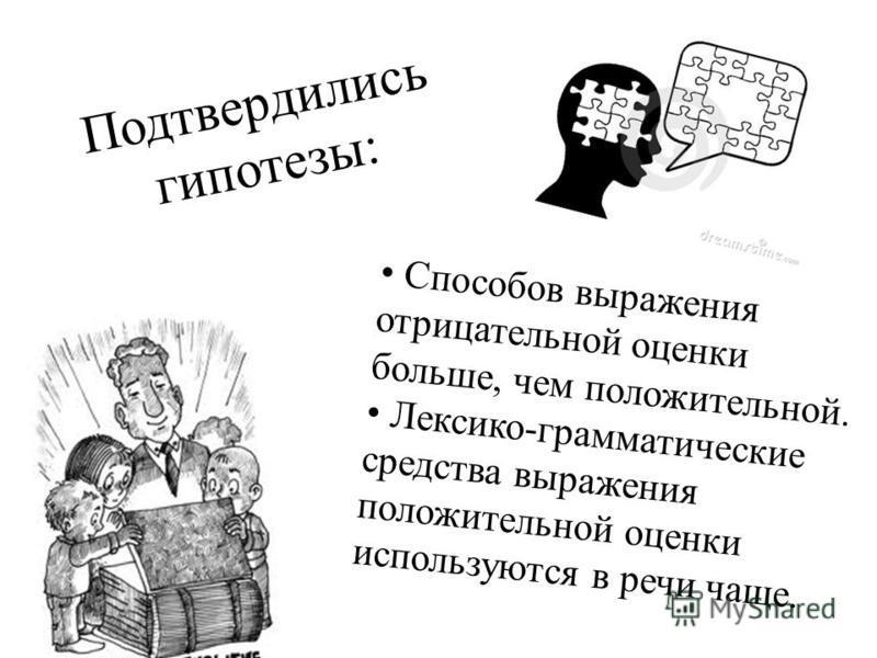 Подтвердились гипотезы: Способов выражения отрицательной оценки больше, чем положительной. Лексико-грамматические средства выражения положительной оценки используются в речи чаще.