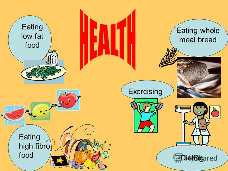Eating low fat food Exercising Dieting Eating whole meal bread Eating high fibro food