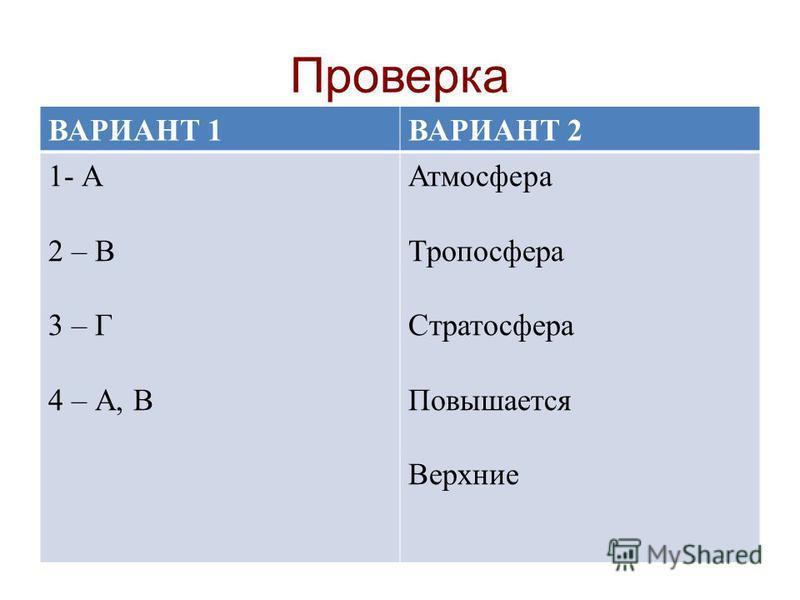 Проверка ВАРИАНТ 1ВАРИАНТ 2 1- А 2 – В 3 – Г 4 – А, В Атмосфера Тропосфера Стратосфера Повышается Верхние