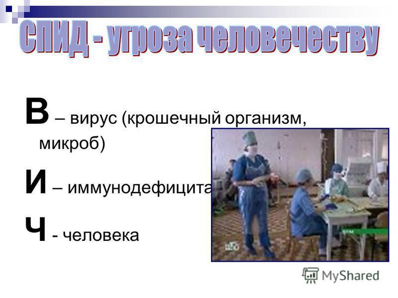 В – вирус (крошечный организм, микроб) И – иммуннойдефицита Ч - человека