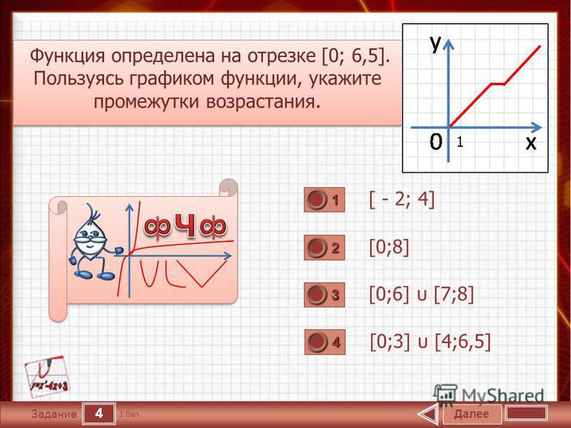 4 Задание Функция определена на отрезке [0; 6,5]. Пользуясь графиком функции, укажите промежутки возрастания. Функция определена на отрезке [0; 6,5]. Пользуясь графиком функции, укажите промежутки возрастания. [ - 2; 4] [0;8] [0;6] υ [7;8] [0;3] υ [4