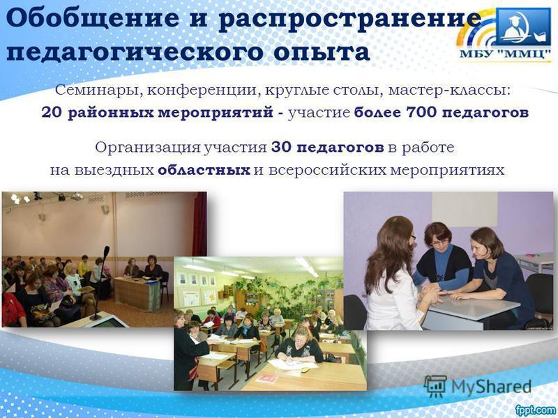 Обобщение и распространение педагогического опыта Семинары, конференции, круглые столы, мастер-классы: 20 районных мероприятий - участие более 700 педагогов Организация участия 30 педагогов в работе на выездных областных и всероссийских мероприятиях