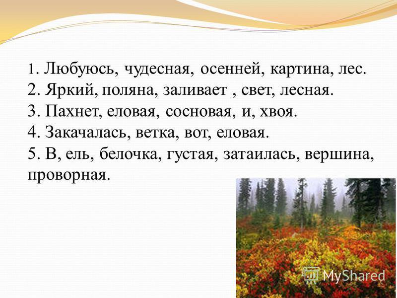 1. Любуюсь, чудесная, осенней, картина, лес. 2. Яркий, поляна, заливает, свет, лесная. 3. Пахнет, еловая, сосновая, и, хвоя. 4. Закачалась, ветка, вот, еловая. 5. В, ель, белочка, густая, затаилась, вершина, проворная.