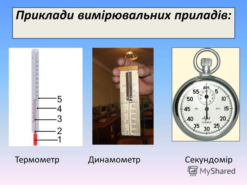 Приклади вимірювальних приладів: Термометр Динамометр Секундомір