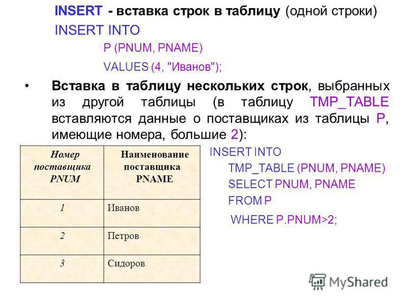 INSERT - вставка строк в таблицу (одной строки) INSERT INTO P (PNUM, PNAME) VALUES (4,