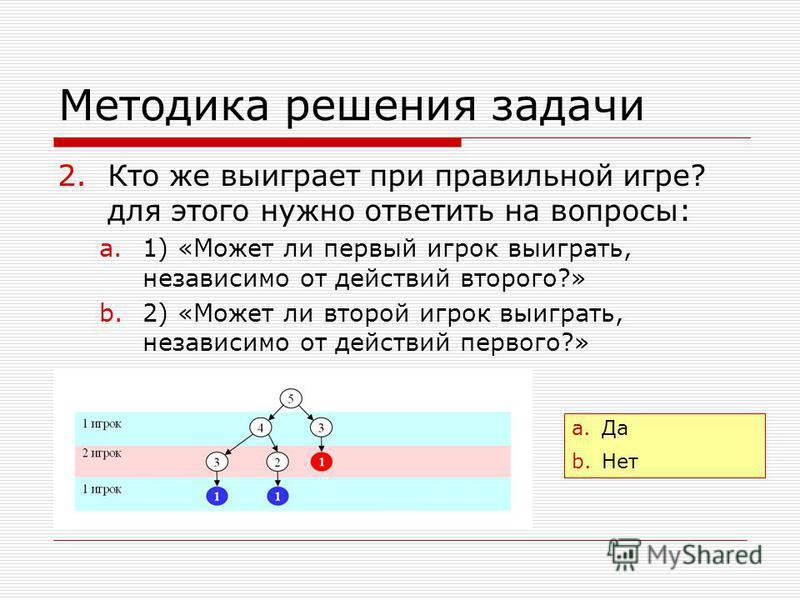 Методика решения задачи 2. Кто же выиграет при правильной игре? для этого нужно ответить на вопросы: a.1) «Может ли первый игрок выиграть, независимо от действий второго?» b.2) «Может ли второй игрок выиграть, независимо от действий первого?» a.Да b.