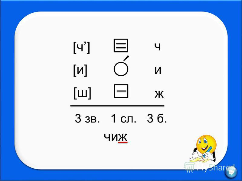 [ч][ч] [и][и] [ш][ш] ч и ж 3 зв. 1 сл. 3 б. чиж