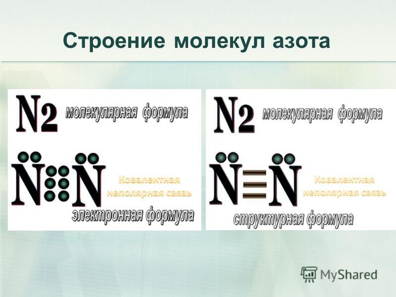 Строение молекул азота