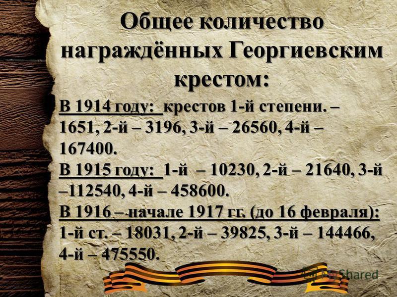 Общее количество награждённых Георгиевским крестом: В 1914 году: крестов 1-й степени. – 1651, 2-й – 3196, 3-й – 26560, 4-й – 167400. В 1915 году: 1-й – 10230, 2-й – 21640, 3-й –112540, 4-й – 458600. В 1916 – начале 1917 гг. (до 16 февраля): 1-й ст. –