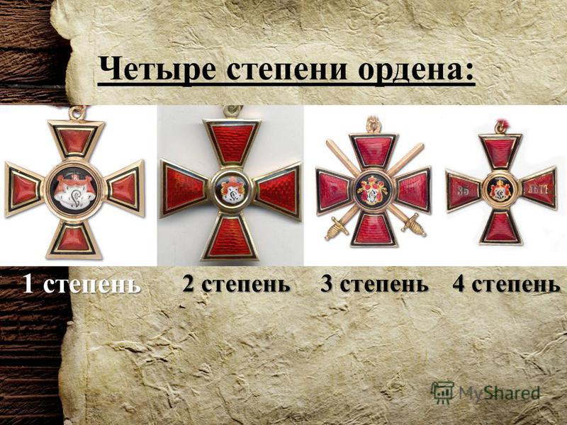 Четыре степени ордена: 1 степень 2 степень 3 степень 4 степень