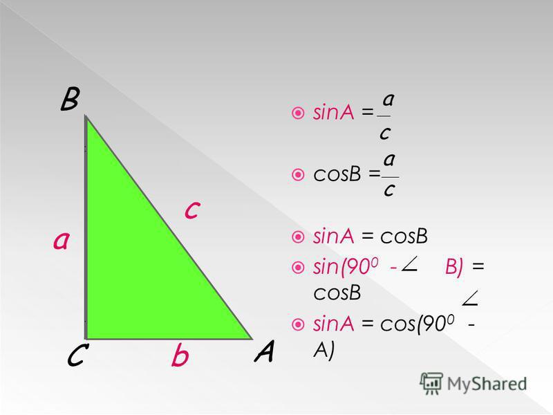 sinA = cosB = sinA = cosB sin(90 0 - B) = cosB sinA = cos(90 0 - A) А С В с а b c a a c