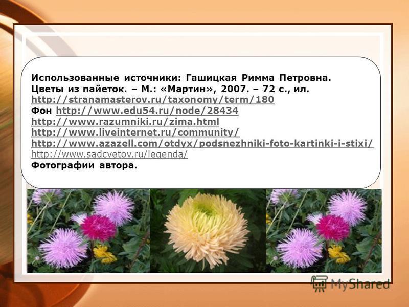 Использованные источники: Гашицкая Римма Петровна. Цветы из пайеток. – М.: «Мартин», 2007. – 72 с., ил. http://stranamasterov.ru/taxonomy/term/180 Фон http://www.edu54.ru/node/28434http://www.edu54.ru/node/28434 http://www.razumniki.ru/zima.html http