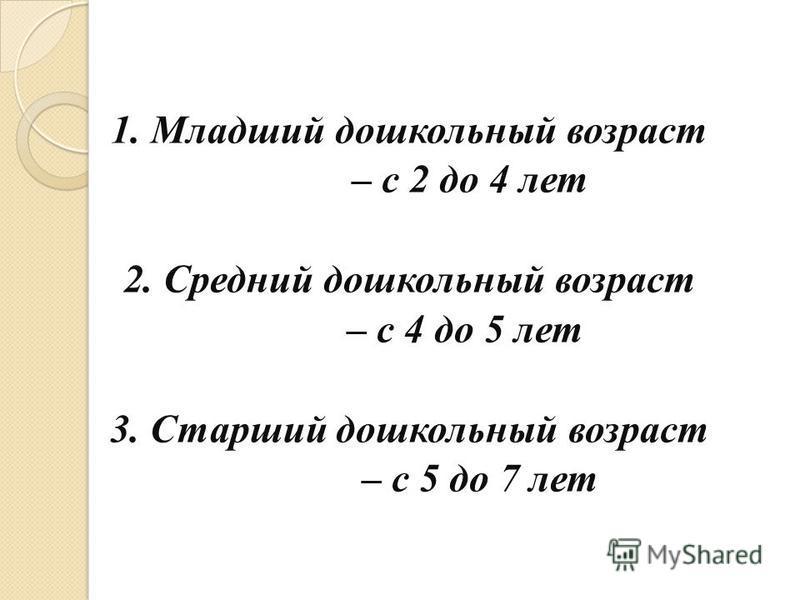 1. Младший дошкольный возраст – с 2 до 4 лет 2. Средний дошкольный возраст – с 4 до 5 лет 3. Старший дошкольный возраст – с 5 до 7 лет