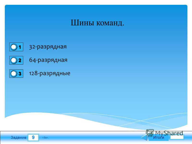 9 Задание 32-разрядная 64-разрядная 128-разрядные Итоги 1 бал. 1111 0 2222 0 3333 0 Шины команд.
