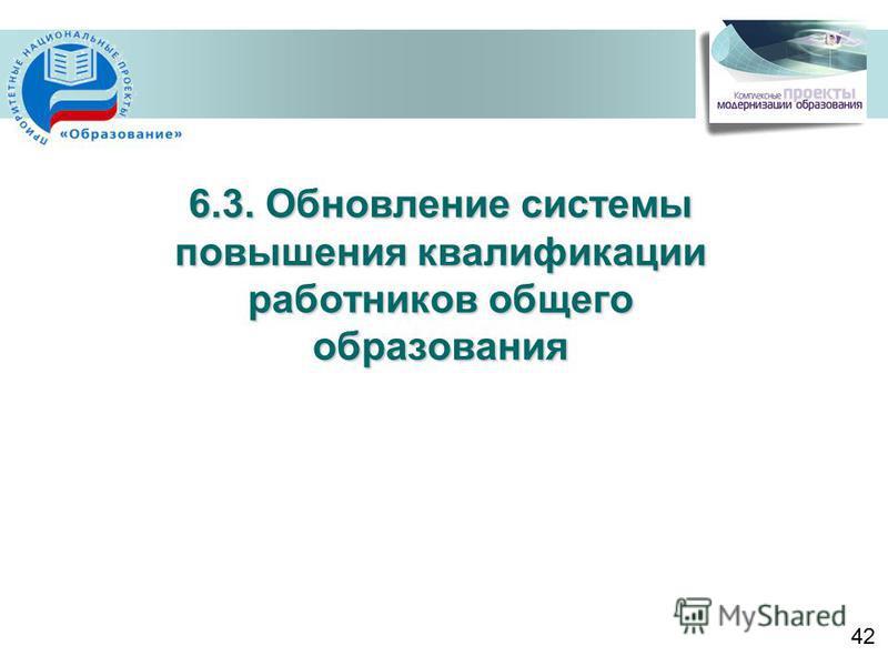 6.3. Обновление системы повышения квалификации работников общего образования 42