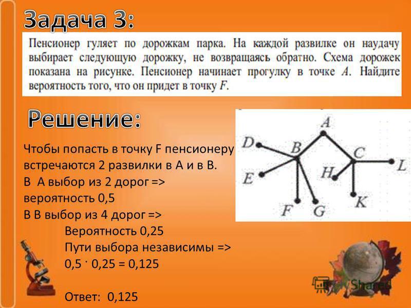 Чтобы попасть в точку F пенсионеру встречаются 2 развилки в А и в В. В А выбор из 2 дорог => вероятность 0,5 В В выбор из 4 дорог => Вероятность 0,25 Пути выбора независимы => 0,5 · 0,25 = 0,125 Ответ: 0,125