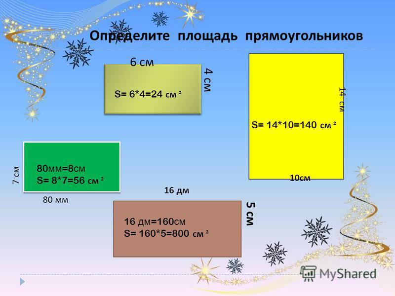 Определите площадь прямоугольников 4 см 6 см 14 см 10 см 80 мм 7 см 16 дм 5 см S= 6*4=24 см ² S= 14*10=140 см ² 80 мм =8 см S= 8*7=56 см ² 16 дм =160 см S= 160*5=800 см ²