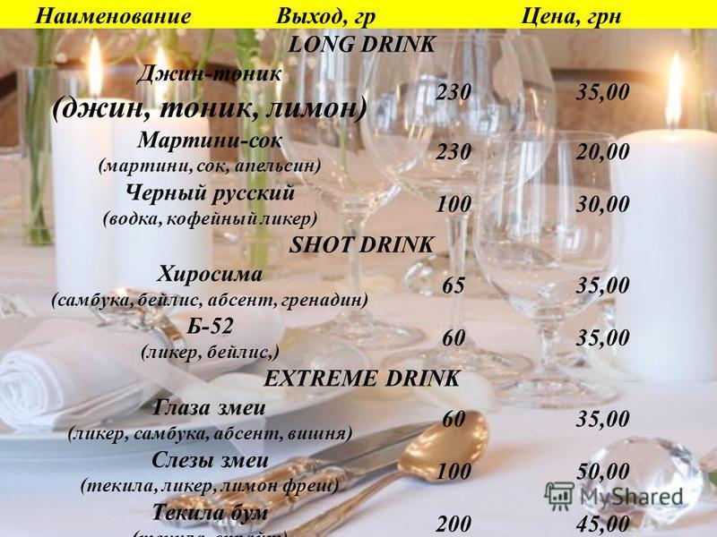 Наименование Выход, гр Цена, грн LONG DRINK Джин-тоник (джин, тоник, лимон) 23035,00 Мартини-сок (мартини, сок, апельсин) 23020,00 Черный русский (водка, кофейный ликер) 10030,00 SHOT DRINK Хиросима (самбука, бейлис, абсент, гренадин) 6535,00 Б-52 (л