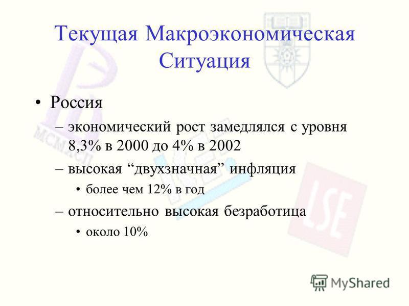 Текущая Макроэкономическая Ситуация Россия –экономический рост замедлялся с уровня 8,3% в 2000 до 4% в 2002 –высокая двухзначная инфляция более чем 12% в год –относительно высокая безработица около 10%