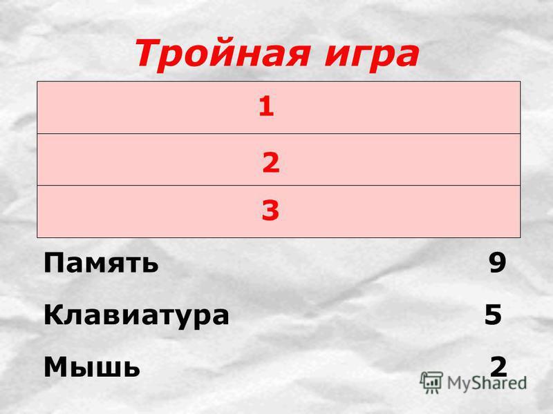 Тройная игра 1 2 3 Память 9 Клавиатура 5 Мышь 2
