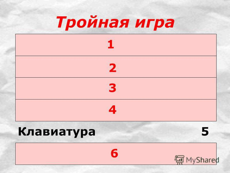 Тройная игра 1 2 3 4 Клавиатура 5 6