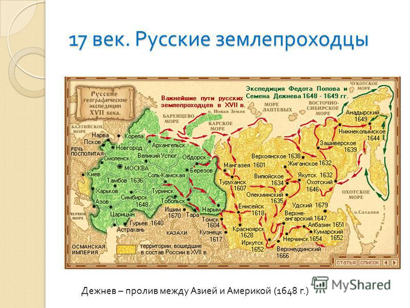 17 век. Русские землепроходцы Дежнев – пролив между Азией и Америкой (1648 г.)