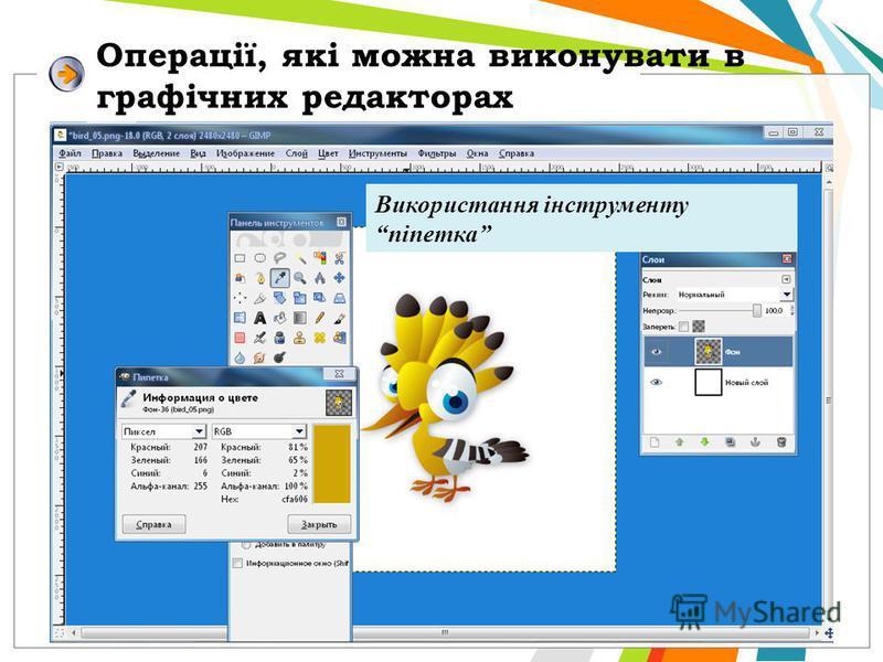 Операції, які можна виконувати в графічних редакторах Використання інструменту піпетка