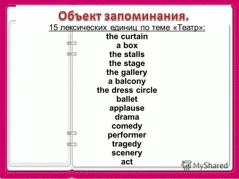 15 лексических единиц по теме «Театр»: the curtain a box the stalls the stage the gallery a balcony the dress circle ballet applause drama comedy performer tragedy scenery act