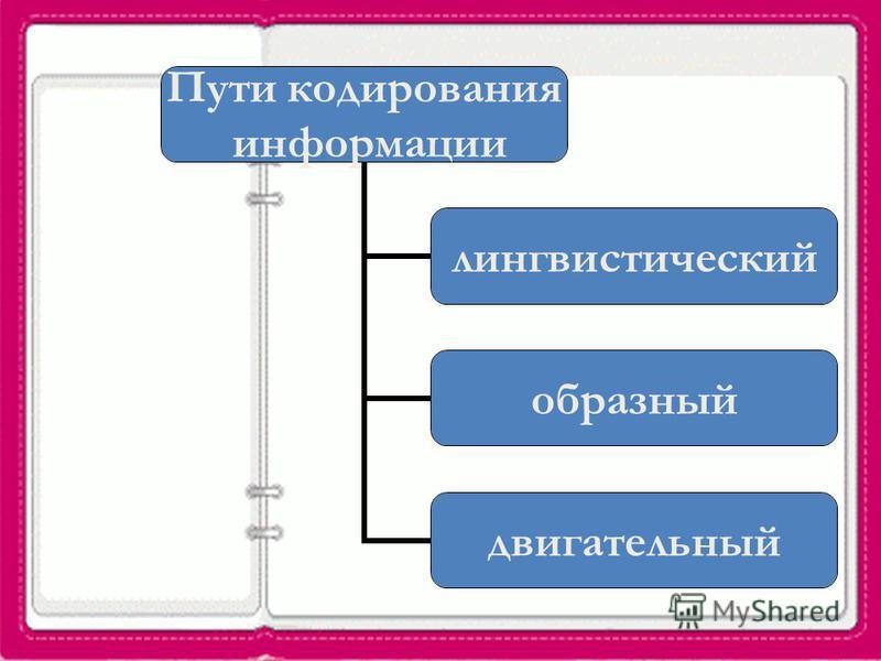 Пути кодирования информации лингвистический образный двигательный